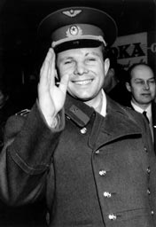 Soviet cosmonaut and pilot Yuri Gagarin, the first person to orbit the Earth