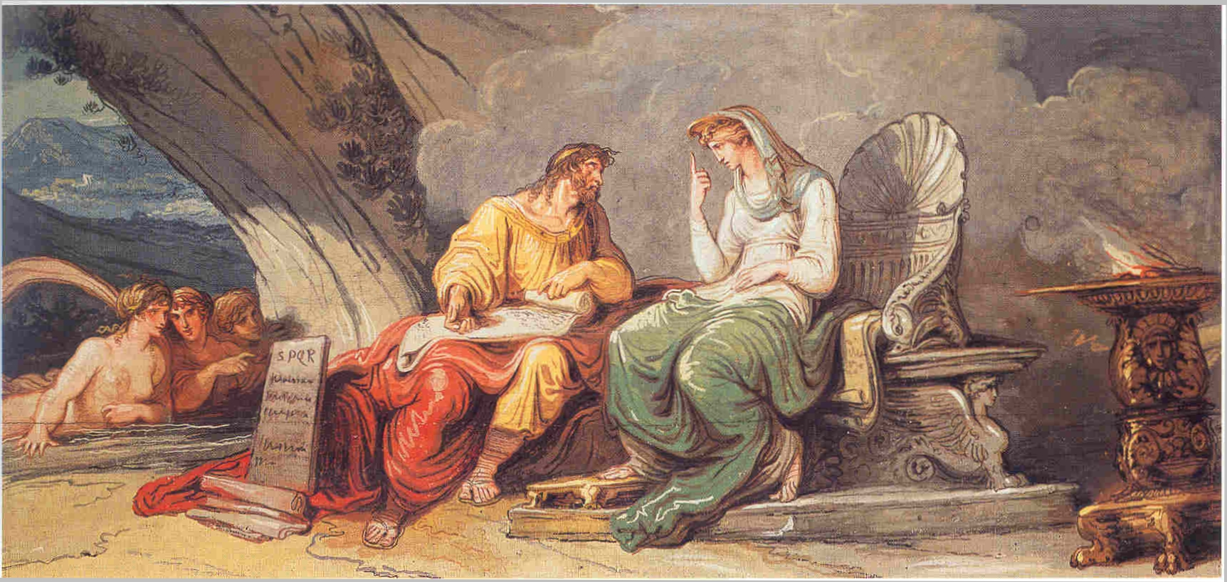 Cómodo y otros que se creían semidioses Giani%2C_Felice_-_Numa_Pompilio_riceve_dalla_ninfa_Egeria_le_leggi_di_Roma_-_center_-_1806