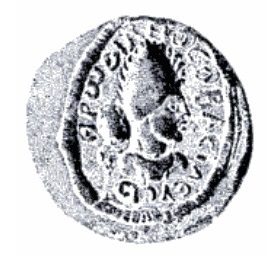 seal impression in the shape of a circle showing the head of a ruler wearing a tiara
