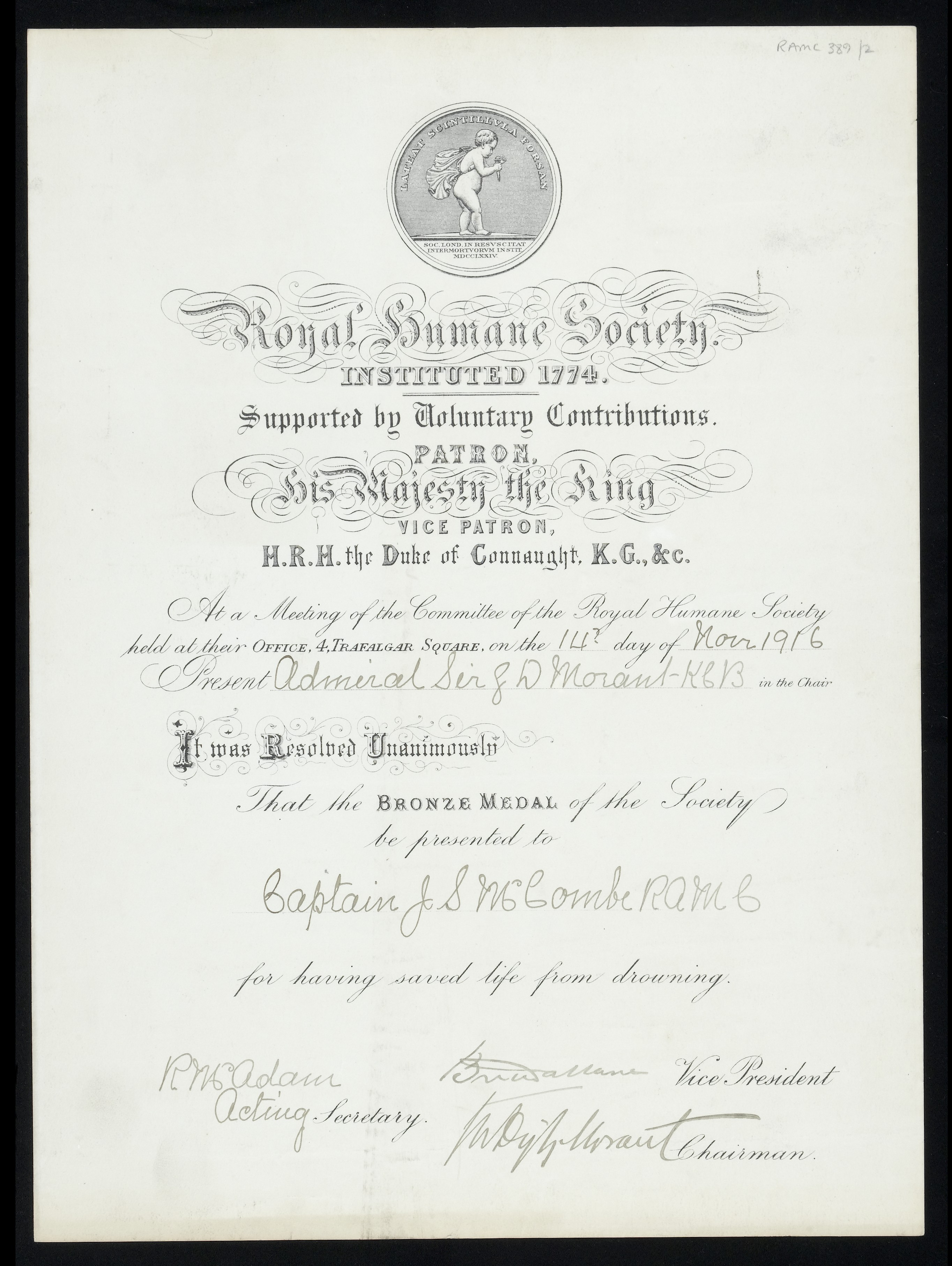 Filehumane Soc Certificate To Captain John Smith Mccombe Wellcome