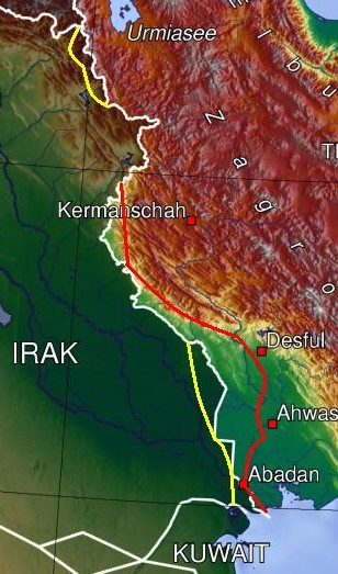 English: Map of Iran-Irak war, Furthest ground...