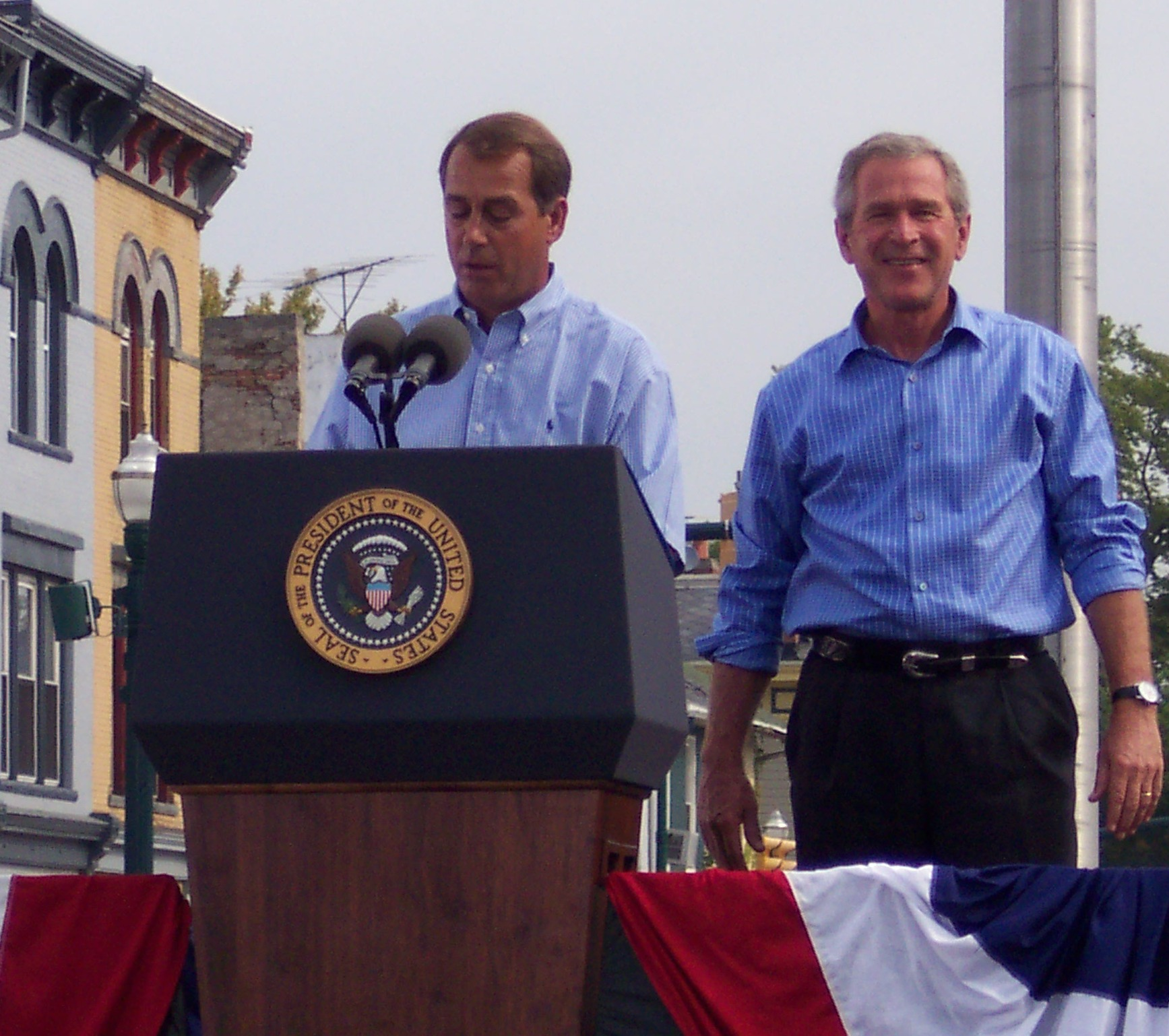 Boehner introducing then-president George W. Bush in Troy, Ohio in 2003.