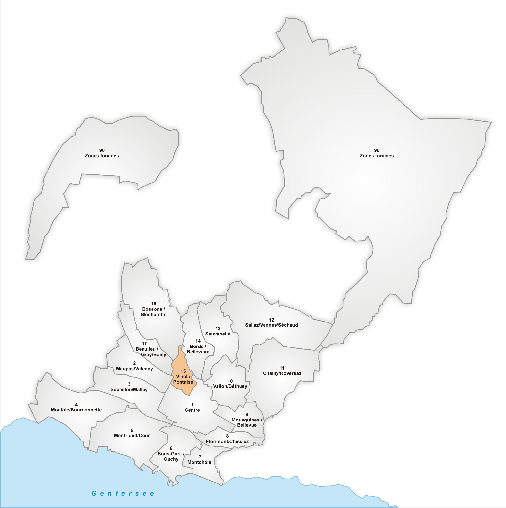 Lage des Stadtteils Vinet/Pontaise
