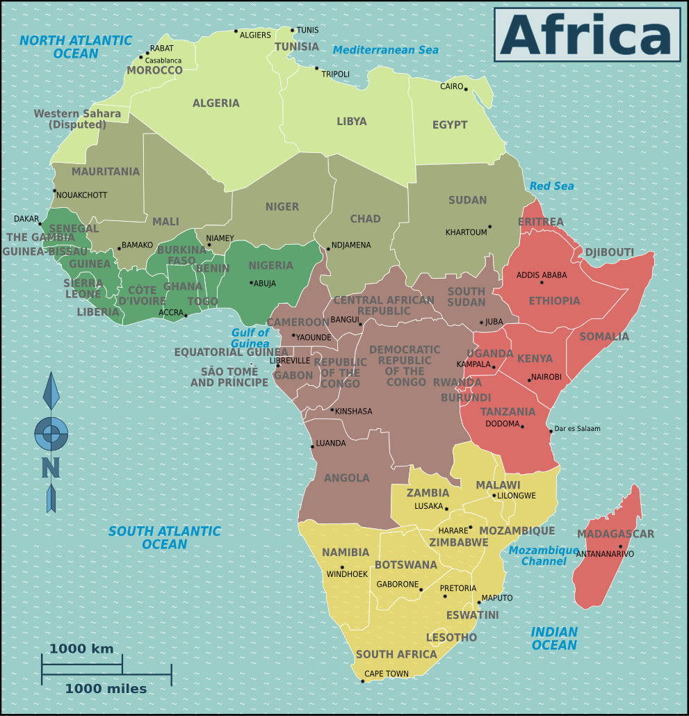 Description map africa regions