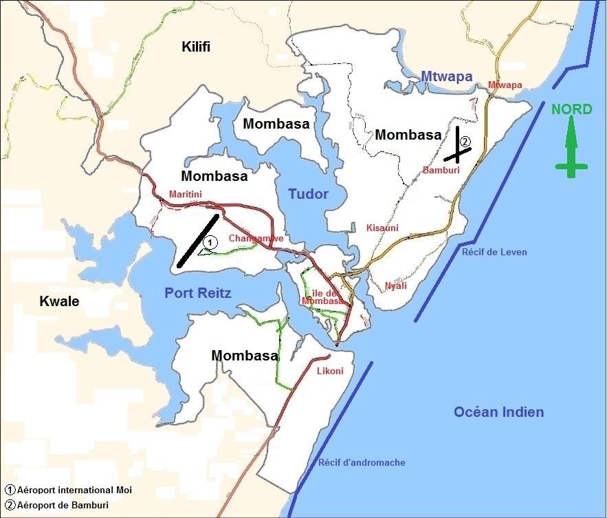 Mapa města Mombasa
