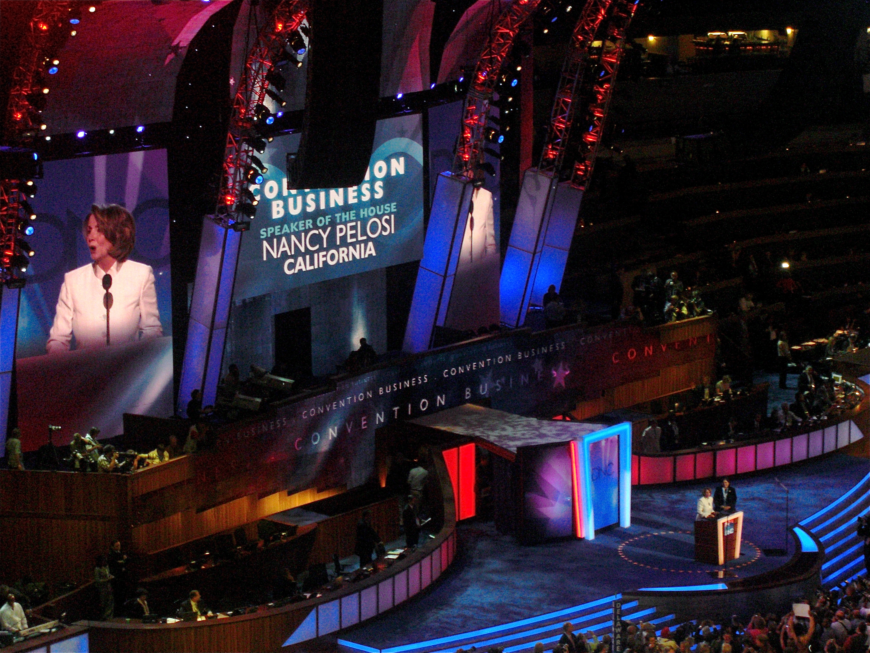 Pelosi conducts convention business during the first day of the 2008 Democratic National Convention in Denver, Colorado.