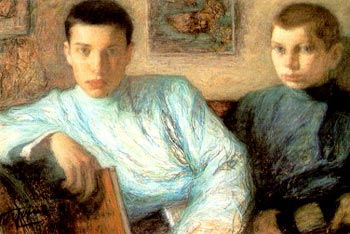 Boris (left) with his brother; painting by the...