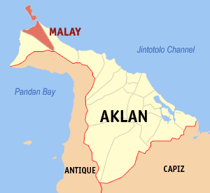 Map of Aklan showing the location of Malay