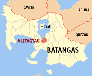 Map of Batangas showing the location of Alitagtag