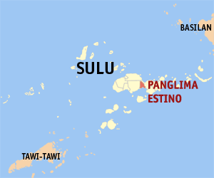 Map of Sulu showing the location of Panglima Estino