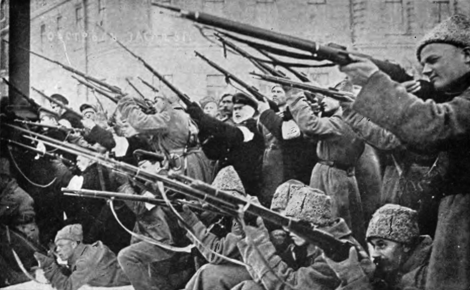 Attacking the Czar's police during the first days of the March Revolution
