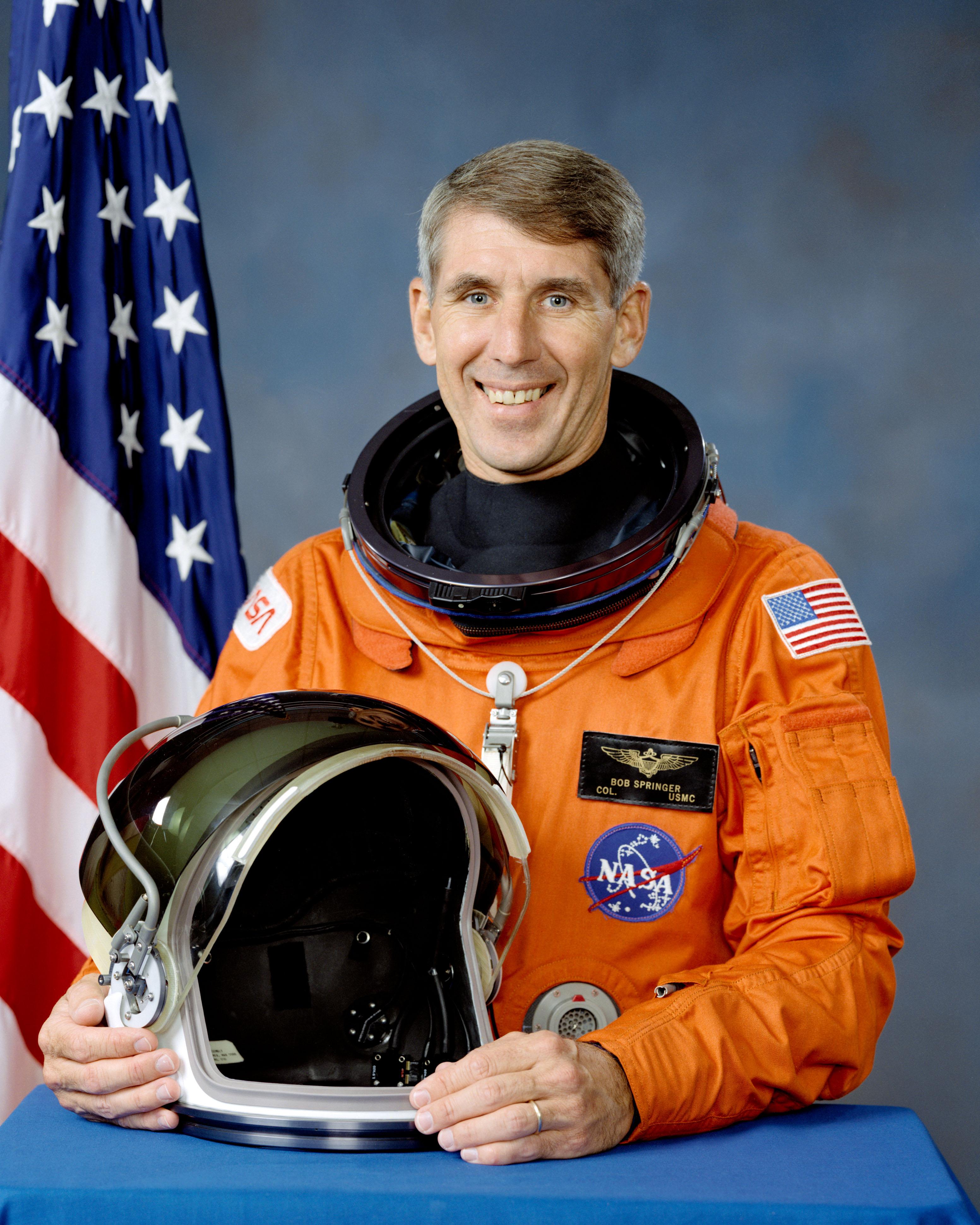 Astronaut Robert Springer, NASA photo Source: Wikipedia (www.jsc.nasa.gov page unavailable May 2019) Robert_Springer.jpg