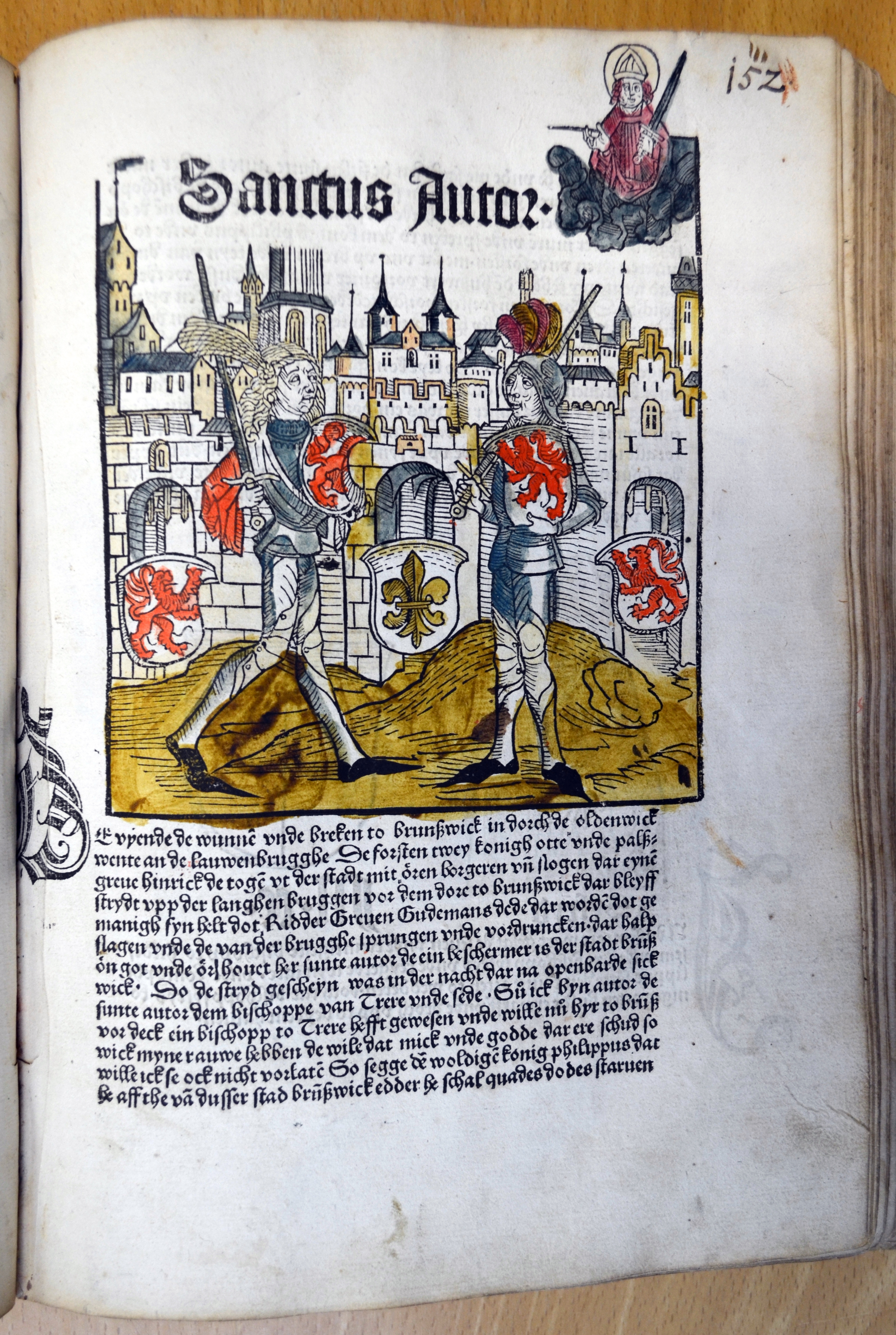 Sachsenkronikken fra 1492: Byen Braunschweig, med skytshelgenen Autor tronende over