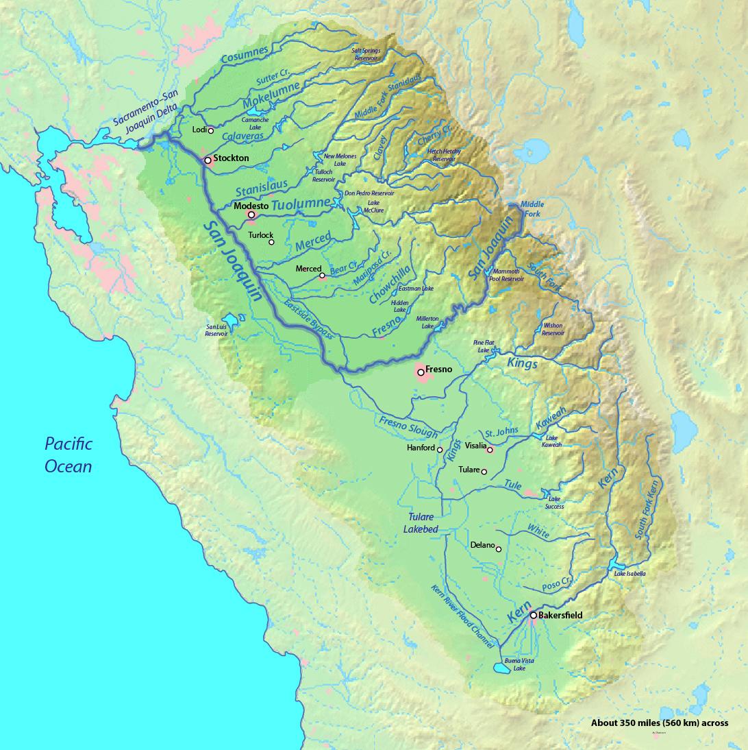 California Map Rivers - Rivers of california map