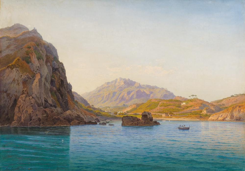 Tableau de Salomon Corrodi de la baie San Montano sur l'île d'Ischia près de Naples.