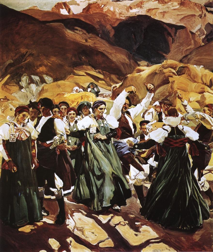 La jota (1914) de Sorolla; diversas personas vestidas con el traje típico ansotano, bailando la jota.
