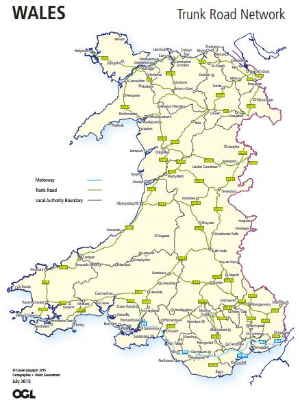 Map Of Ireland Roads.Trunk Roads In Wales Wikipedia