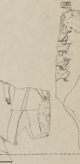 Drawing of a fragmentary relief showing a man standing