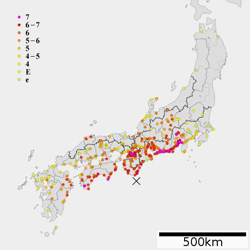 宝永地震の震度分布