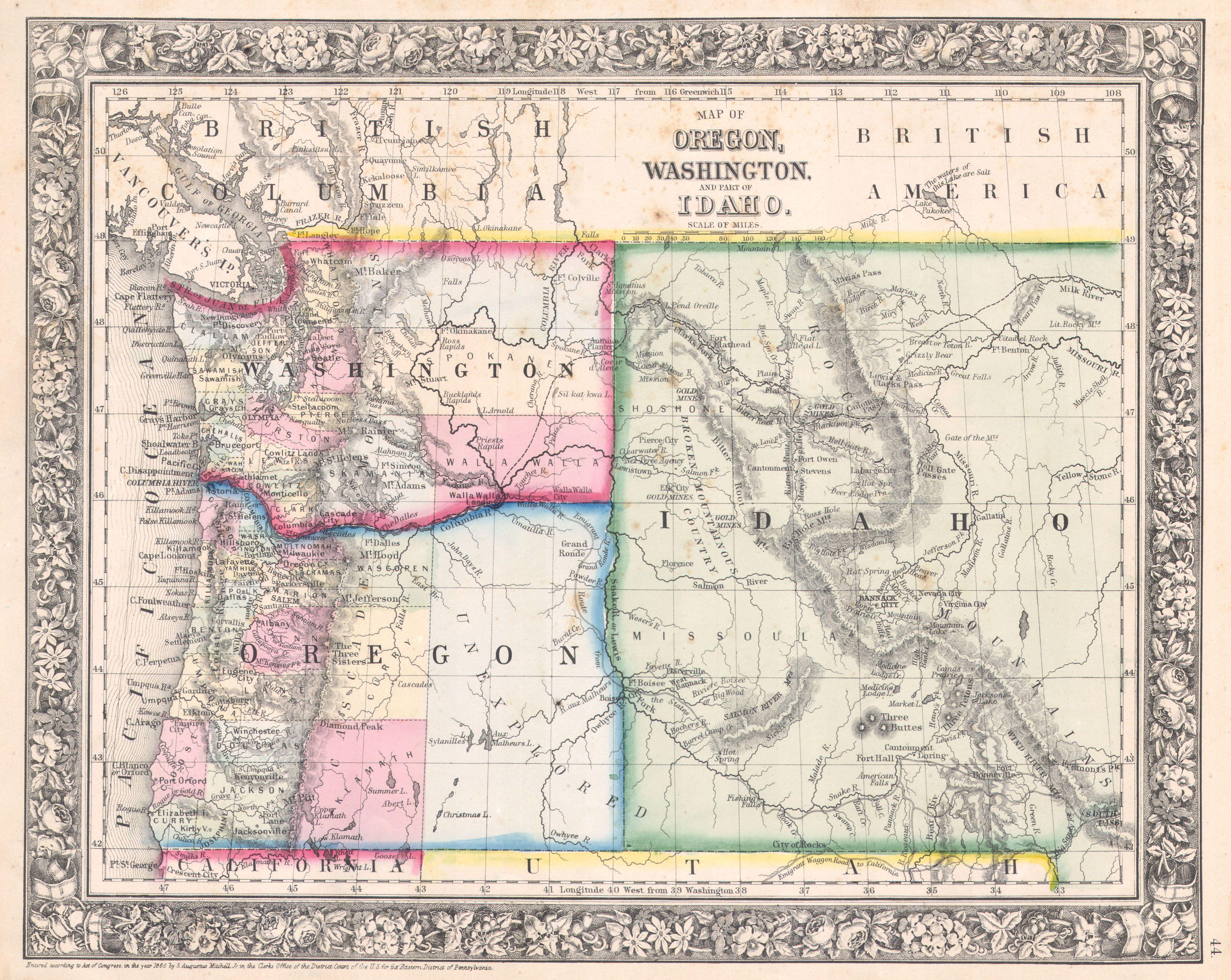 File1864 Mitchell Map Of Washington Oregon And Idaho