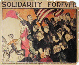 1932 poster for League for Industrial Democracy, designed by Anita Willcox during the Great Depression, showing solidarity with struggles of workers and poor in America