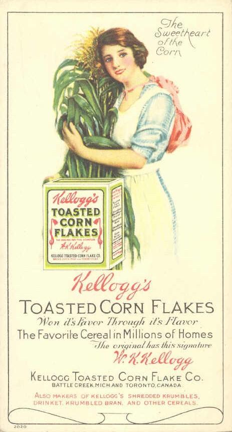 Reklama oryginalnych płatków Kellogg's z 1910
