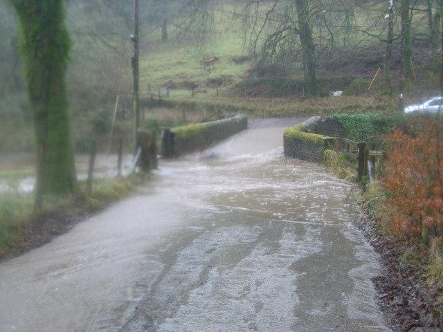 Description bridge over the river barle after river burst its banks