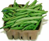 Whole green beans in a carton