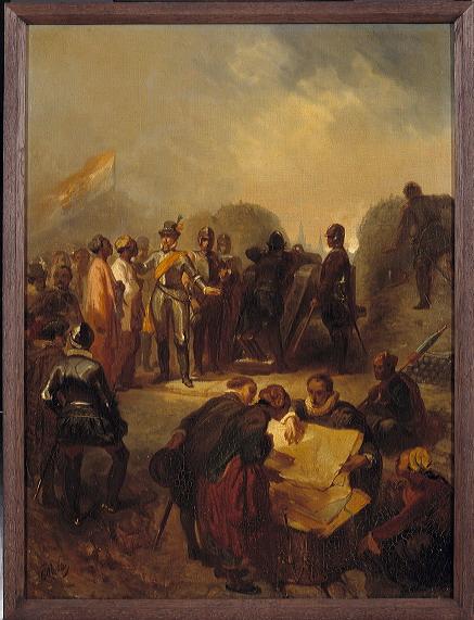Charles Rochussen - Anno 1602. De gezanten van Atjeh bezoeken Maurits bij Grave - SA 4963 - Amsterdam Museum