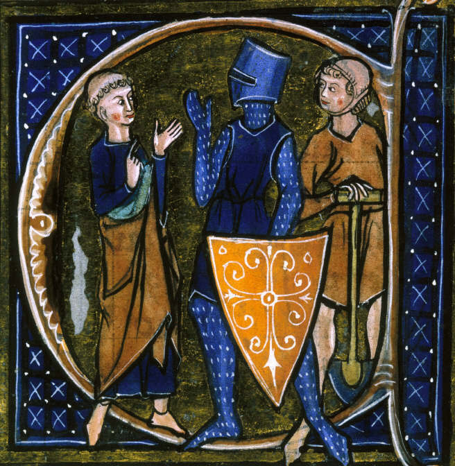 Detail from an illuminated book, with three figures shown talking, a monk on the left, a knight in armour in the middle and a peasant with a spade on the right. The picture is accented in rich blues.