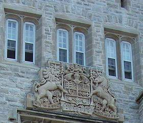 Coat of arms of Canada on Currie Hall, Mackenzie Building, Royal Military College of Canada Coats of arms of Canada on Currie Hall Mackenzie Building Royal Military College of Canada.JPG