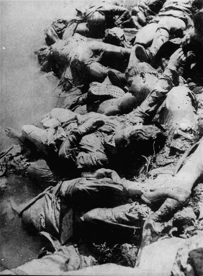 Corpses in the Sava river, Jasenovac camp, 1945.jpg