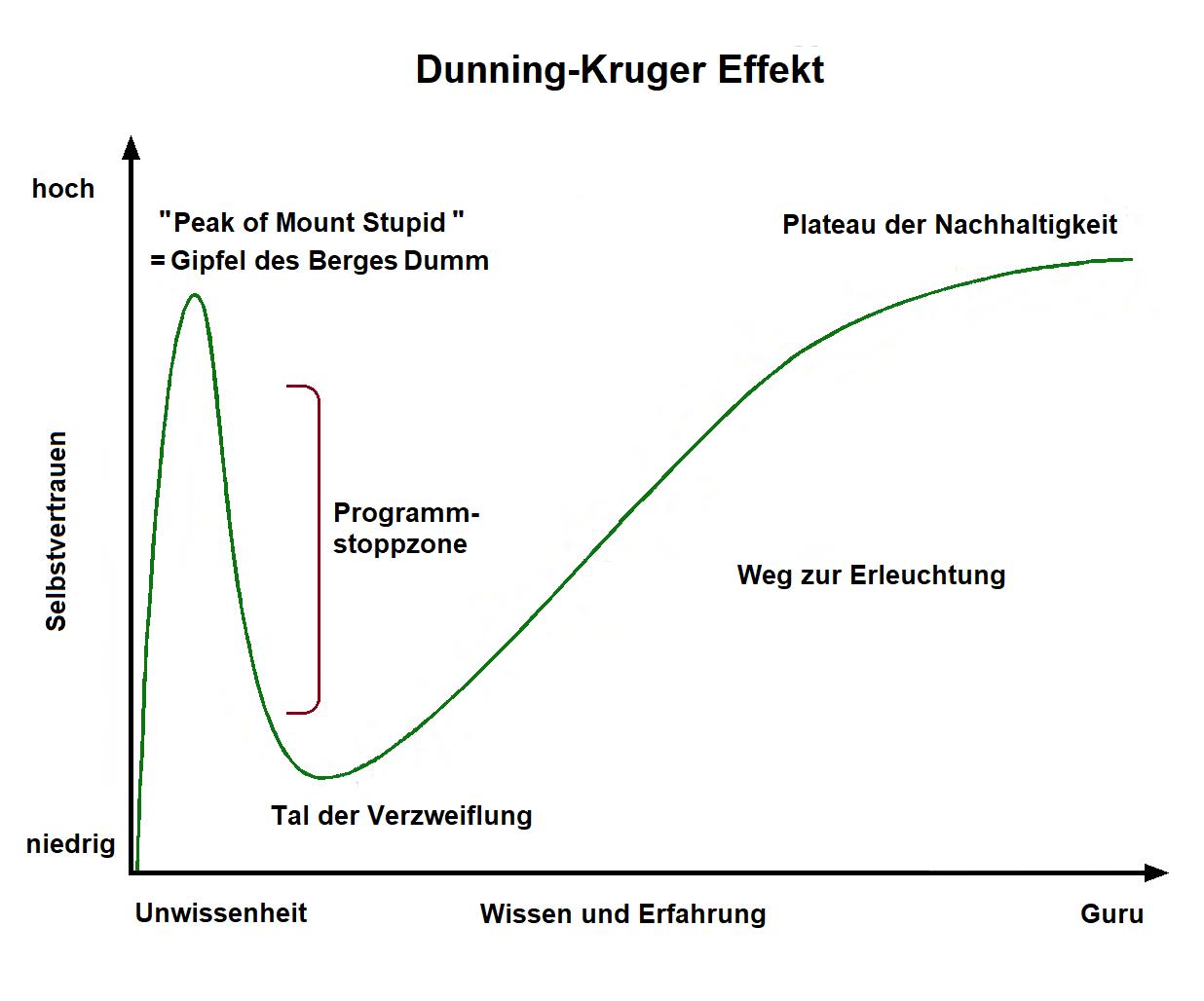 Der Dunning-Kruger-Effekt geht auf eine 1999 erschienene Publikation von David Dunning und Justin Kruger zurück.