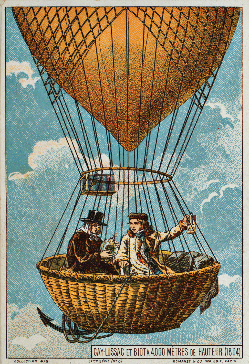 A late 19th-century illustration of Gay-Lussac and Biot ascending to 4,000 m (13,000 ft) in a hot-air balloon in 1804.