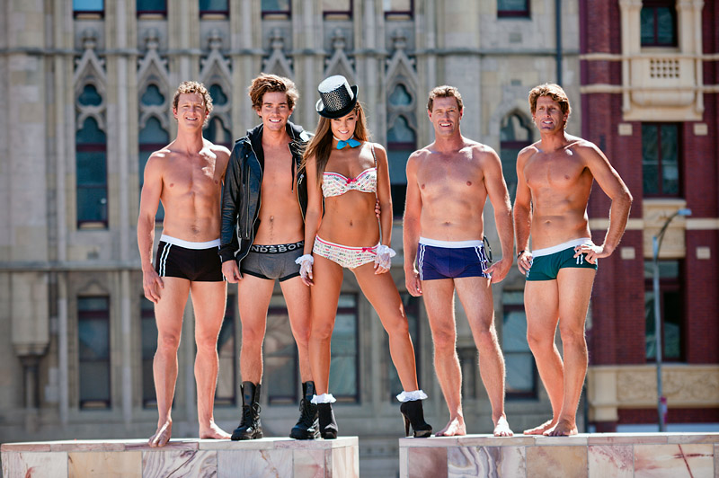 File:Erin McNaught Nathan Joliffe and other models in underwear @ Federation Square.jpg
