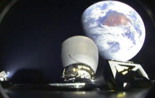 Falcon 9 carrying DSCOVR, 2nd stage with Earth in background (16673034486)