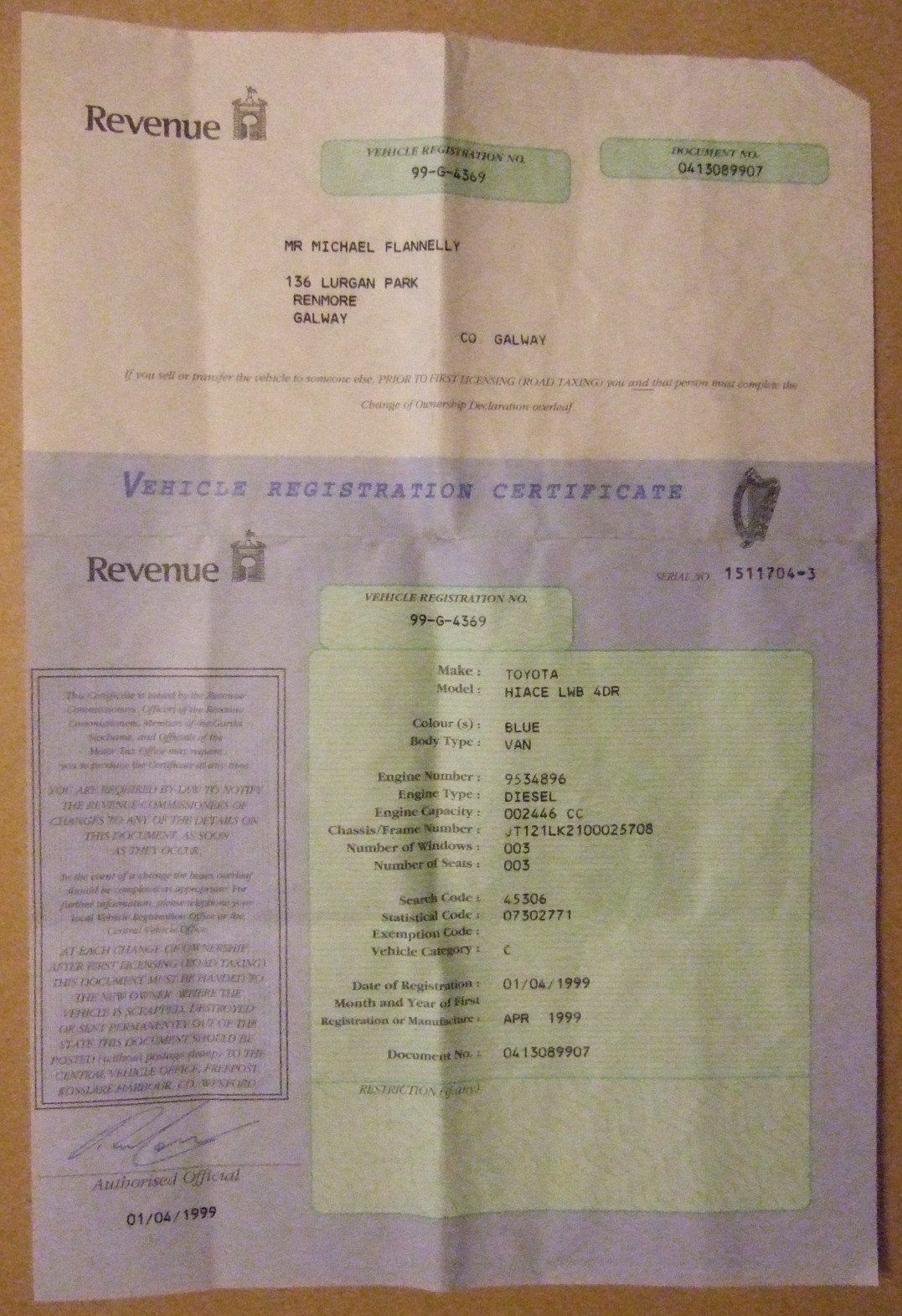 File:IRELAND 1999 -IRISH MOTOR VEHICLE REGISTRATION CERTIFICATE ...
