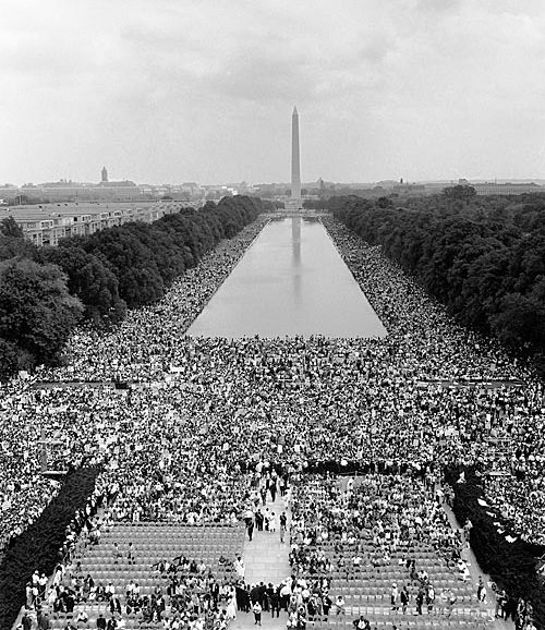 View of Washington DC filled with people for MLK's I Have a Dream Speech