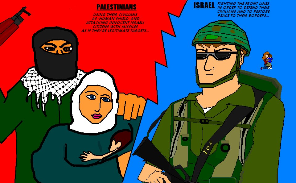 Cartoon-like poster in bold colors compares Palestinian Arab Terrorists with Israeli IDF soldiers.