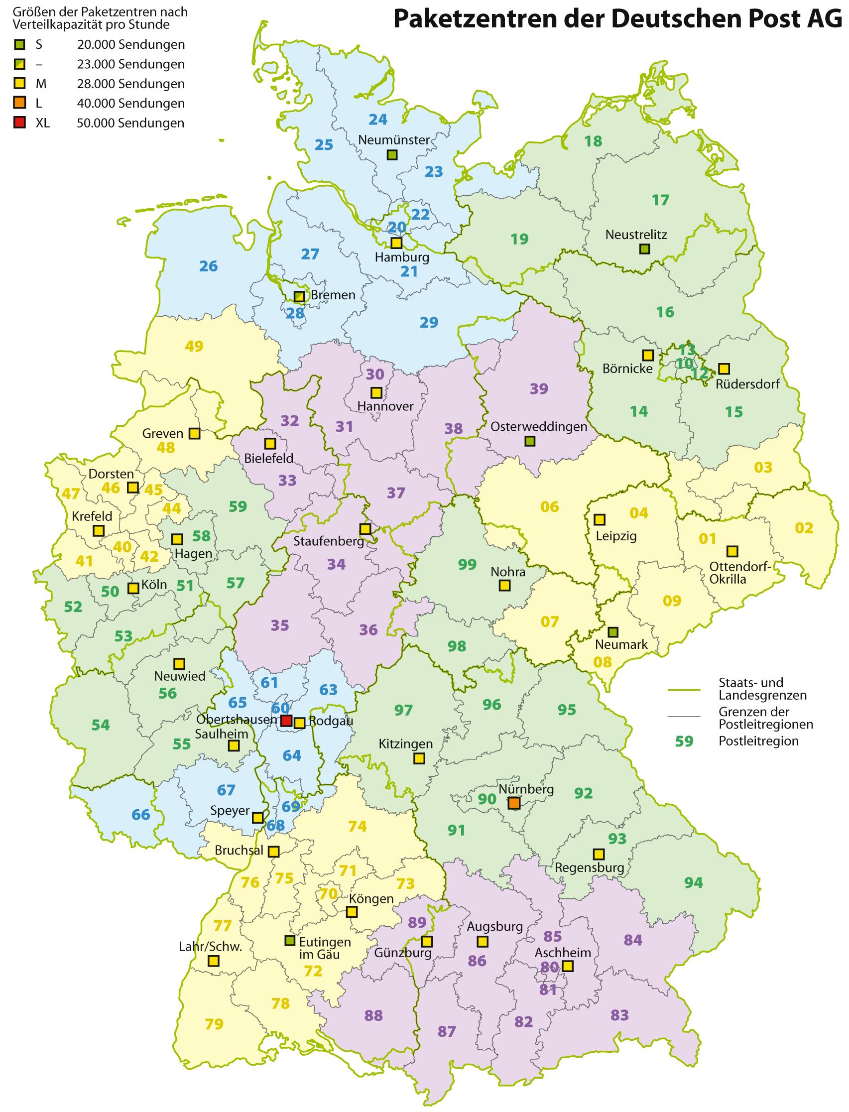 Liste der Postleitregionen in Deutschland – Wikipedia - Bundesrepublik Deutschland Bundesländer Karte