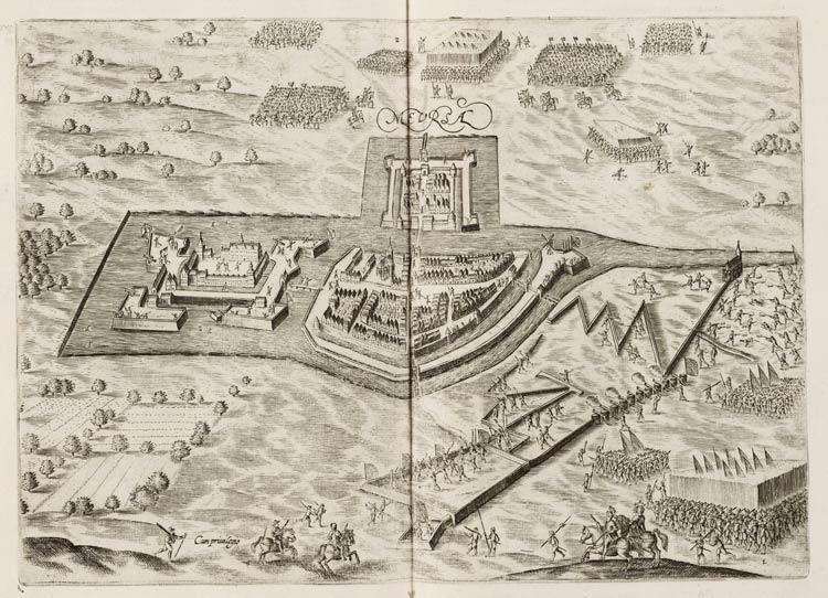 Mevrsae Obsidio - Siege of Meurs (Moers) by Maurice of Orange in 1597 - (Johannes Janssonius, 1651)