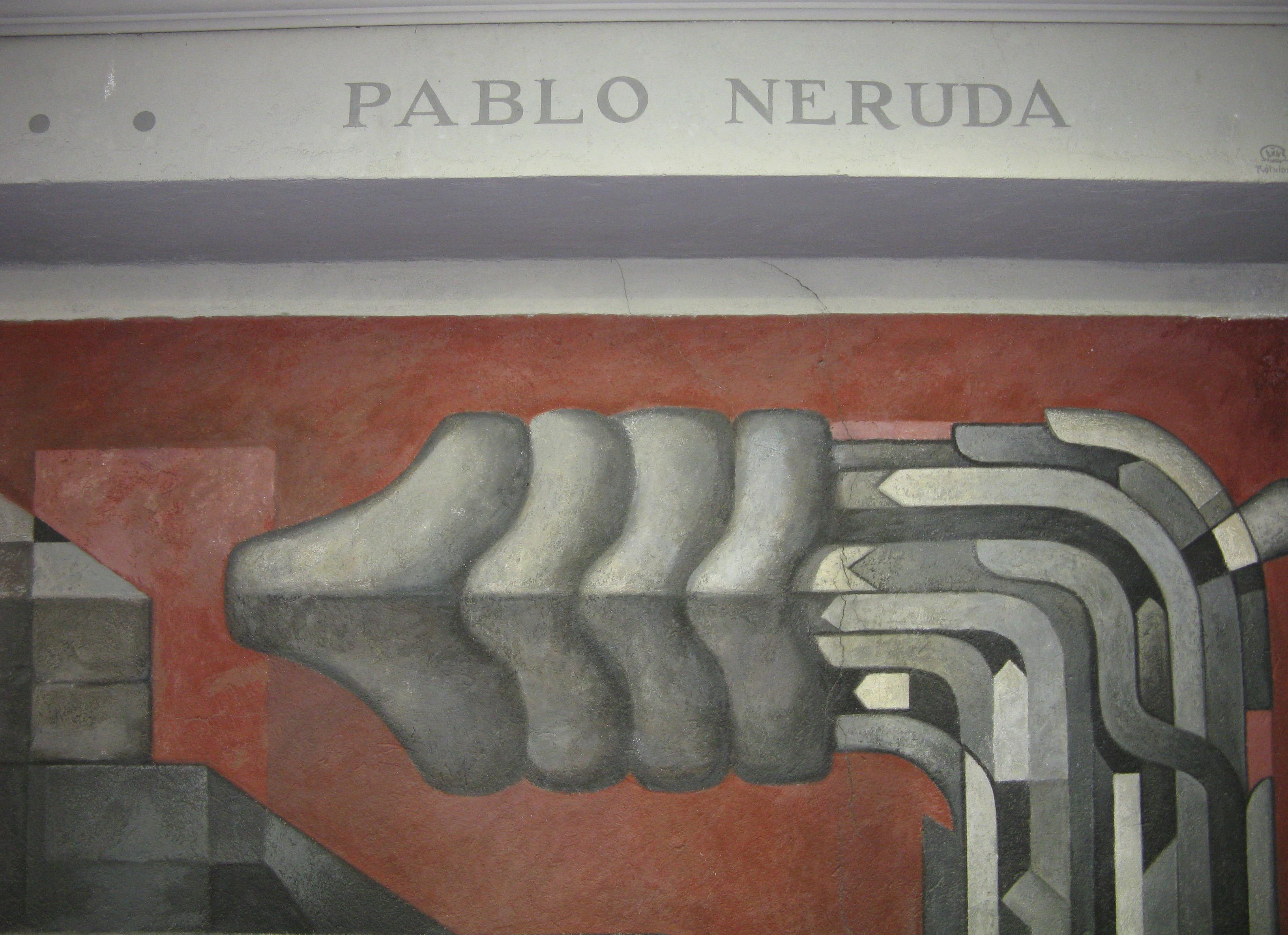 En el mural Presencia de América Latina, obra de Jorge González Camarena ubicada en el hall de acceso de la Casa del Arte de la Universidad de Concepción, sobre la punta de la cola de Quetzalcóatl puede leerse «Pablo Neruda», finalizando el extracto de su poema.