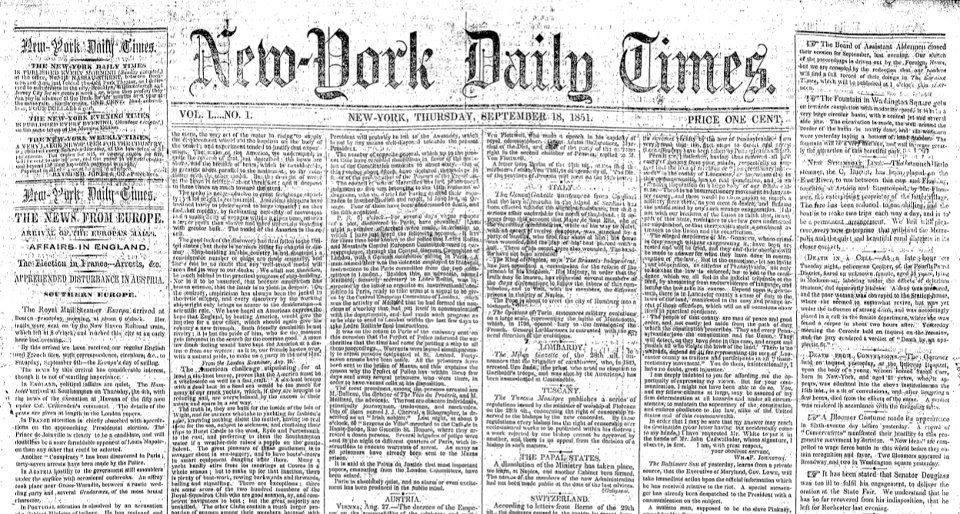 File:New York Daily Times, no. 1.jpg - Wikipedia