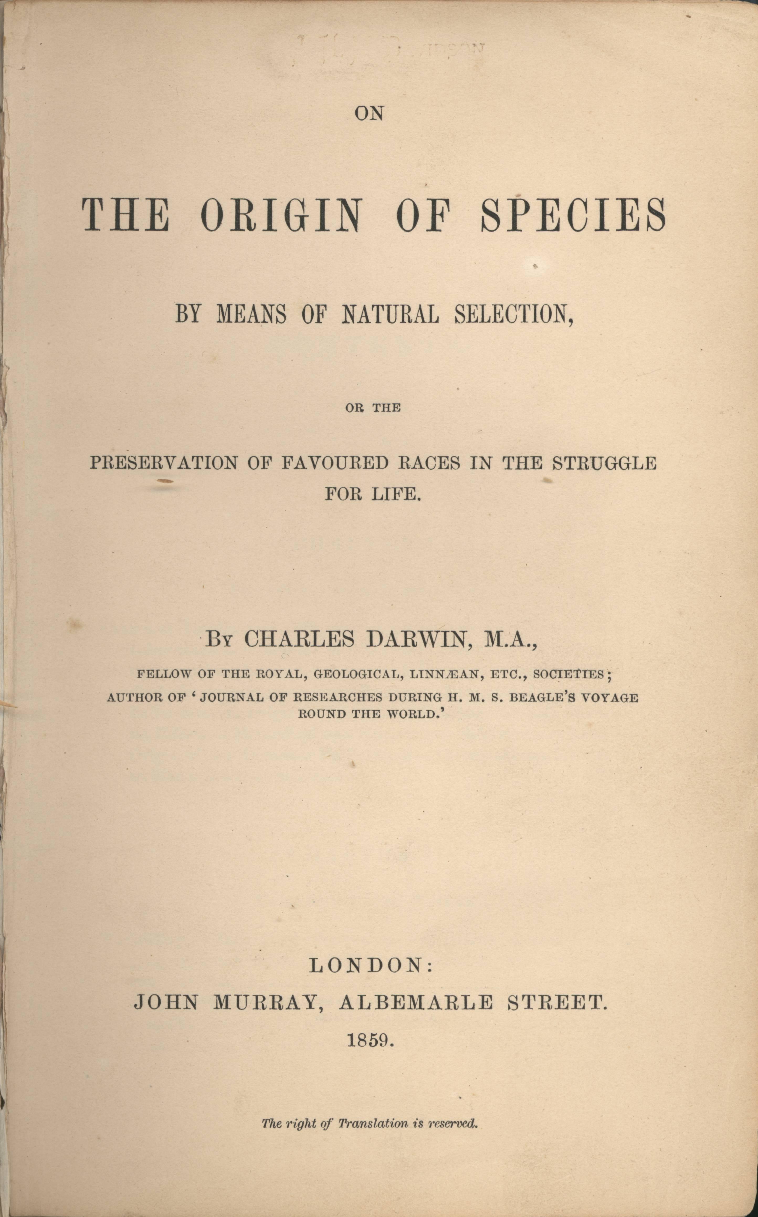 Depiction of El origen de las especies