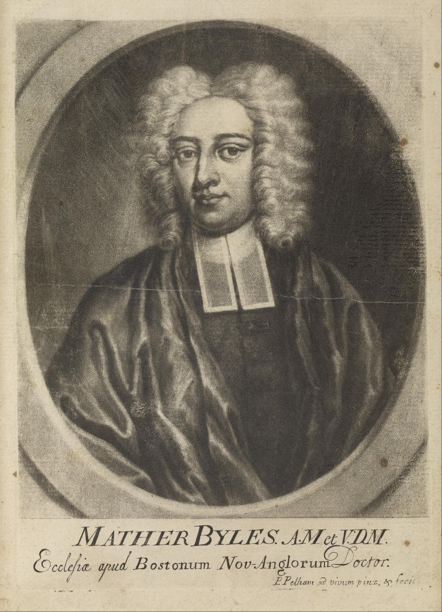 Engraving of Mather Byles by [[Peter Pelham