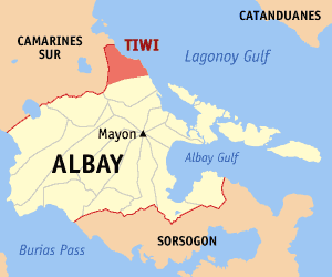 Map of Albay showing the location of Tiwi