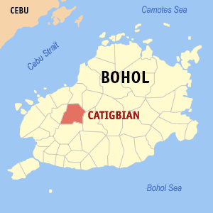 Map of Bohol showing the location of Catigbian