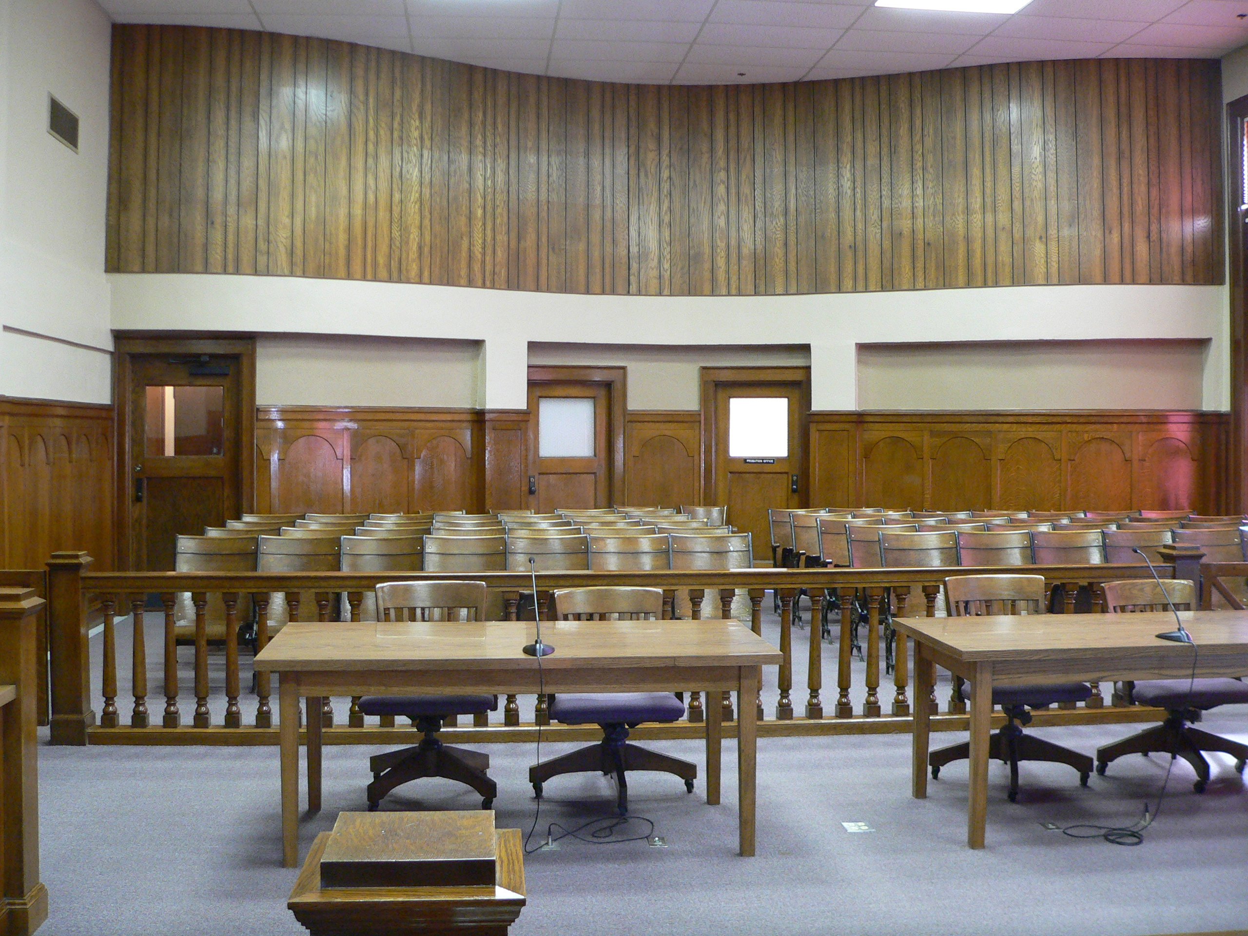 Courtroom in Phelps County Courthouse in Holdrege, Nebraska