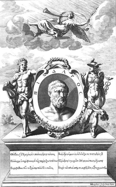 Frontispiece by Michael Burgers of the West and Welsted 1697 edition of Pindar. It included commentaries from [[Nicolas Lesueur