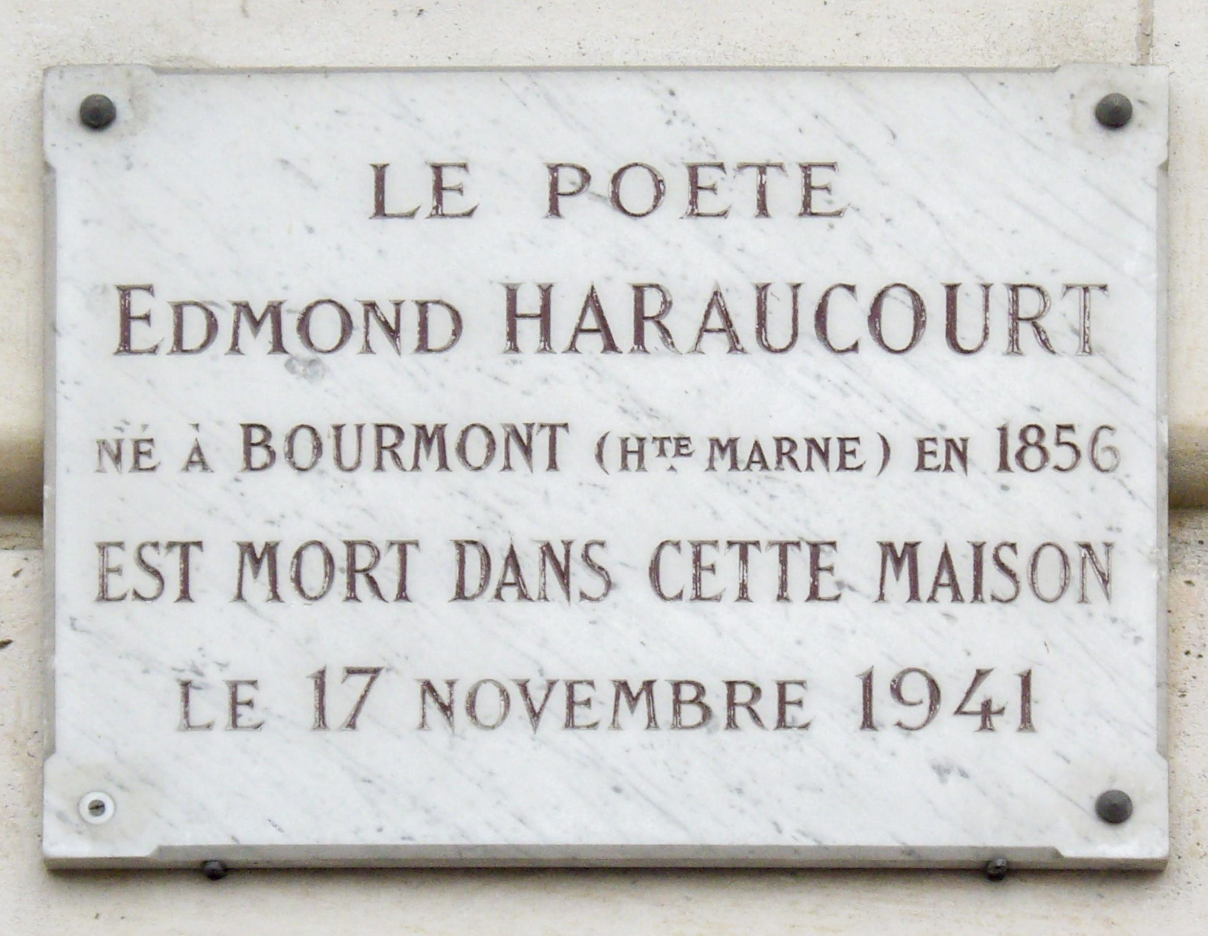 Placa en homenaje al poeta ubicada en el domicilio parisino de Edmond Haraucourt, en el n° 5 de quai aux Fleurs.